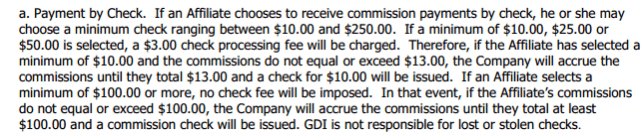 payment policy for GDI