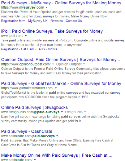 Get Cash For Surveys Search for Surveys