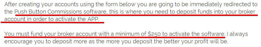 PushButtonCommissions Deposit terms