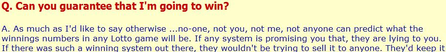 Formula one Lotto no guarantee