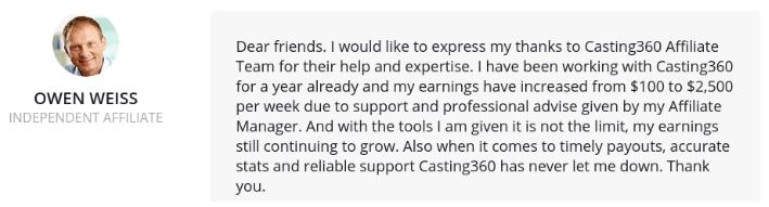 casting360 owen affiliate team