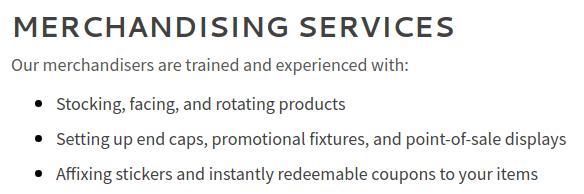 Merchandiser services