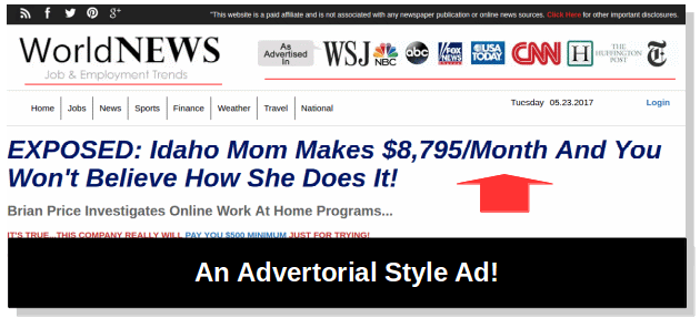advertorial style ad