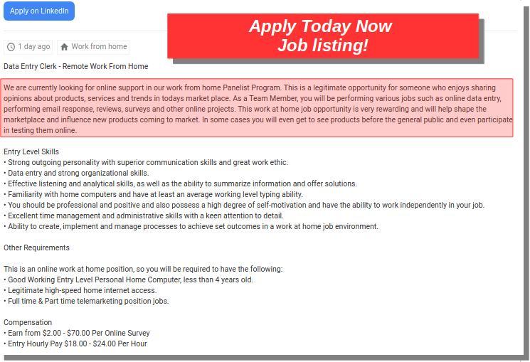 applytodaynow Job Listing
